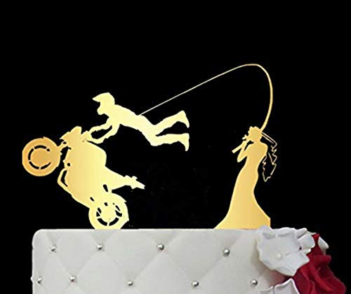 Soode Acryl Spiegel Goud Motorfiets Bruiloft Cake Topper/Verslaafd aan Liefde Cake Topper/Cake Topper verloving taart toppers