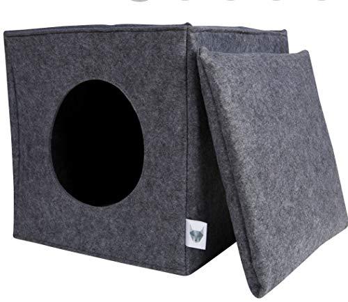 VIIRKUJA Filz Katzenhöhle in Grau inkl. Kissen Passend für z.B. IKEA Expedit & Kallax Regal - Extra Flauschiges Kissen - Besonders stabil und warm