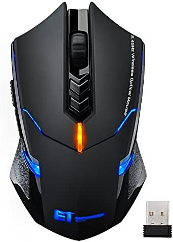Wireless Mouse【7 Silent Click Buttons】 VicTsing 2.4G Professional Cordless Gaming & Office Optical Mice with 5 Adjustable DPI for Laptop PC Computer Windows Mac etc. – Super Energy Saving, Red