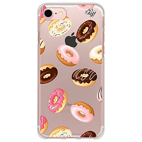 BJJ SHOP Custodia Trasparente Slim per [ iPhone 7 / iPhone 8 ], Cover in Silicone Flessibile TPU, Design: Ciambelle al Cioccolato e Zucchero con glassa