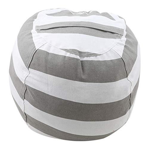 Eleusine Kuscheltier Aufbewahrung Sitzsack Organizer Kids Soft Sitzbezug (L Größe grau groß)