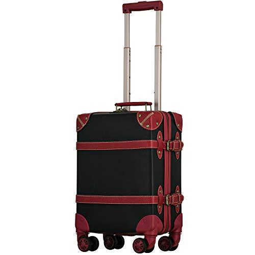 【Recess_リセス】 拡張 ファスナー ストッパー付き トランク 超軽量 スーツケース 機内持ち込み キャリーバッグ キャリーケース コインロッカー ダブルキャスター 8輪 TSAロック (S, ブラック×レッド)