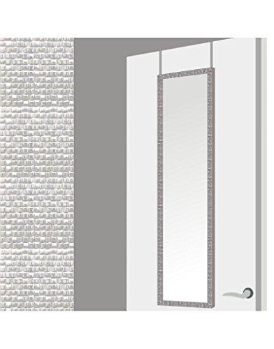 Espejo para Puerta Moderno, Plateado con Diseño de Baldosas, para Dormitorio, sin Agujeros (34,7cm X 1,5cm X 125cm) -Hogar y Más