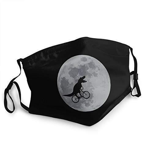 Adult Kids Cloth Face Mask Dinosaur Bicycle Moon Dust Masks Reusable Balaclava for Outdoor Black