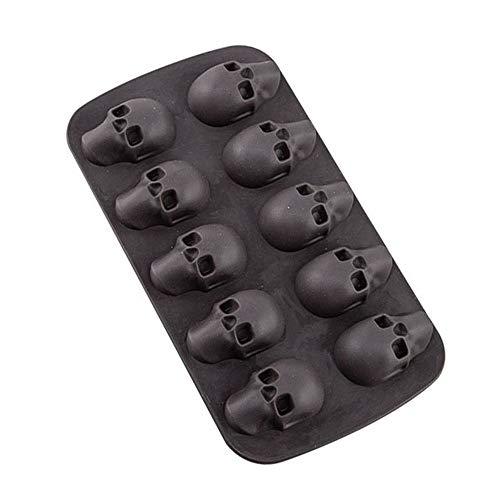SKYSE Molde de silicona para cubitos de hielo de 10 cavidades 3D con forma de calavera de silicona y chocolate, bandejas de hielo para barras de fiestas