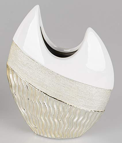 formano Deko Vase GOLDWAVES H. 21cm weiß Champagner Gold Keramik