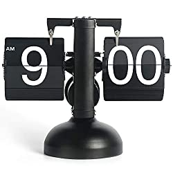 MIDCLOCK Flip Desk Clock, Retro Style Flip Clock, Cool Unique Clock for Home Decoration, Large Number Flip Down Clock, Battery Powered (Black)