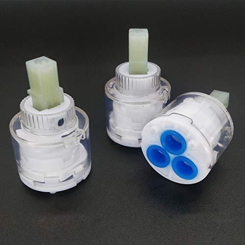 3 piezas nuevo disco de cerámica de 35 mm de plástico para lavabo de ducha, grifo mezclador de cartucho interno de repuesto de cartucho de cerámica, grifo mezclador de válvula (transparente)