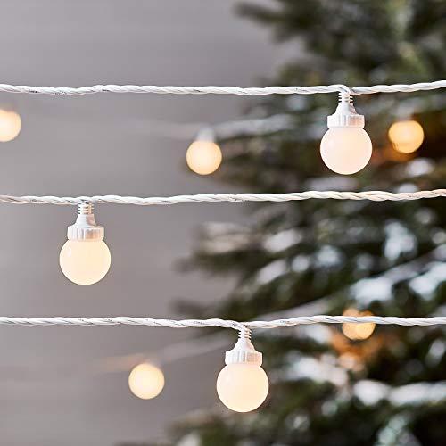 Lights4fun Guirlande Guinguette Extérieure Raccordable avec 100 Globes LED Blanc Chaud, Série Pro