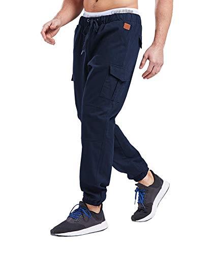 SOMTHRON Herren Elastische Taille Gürtel Baumwolle Jogging Sweat Hosen Plus Size Mode Lange Sports Cargo Hosen Shorts mit Taschen Joggers Activewear Hosen, Dark Blue, L