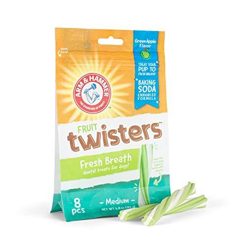 Arm & Hammer Fruit Twisters Fresh Breath Dental Treats for Dogs in Green Apple Flavor, 8 Pcs | Medium Dog Dental Chews for Bad Breath, Plaque & Tartar Without Brushing | Baking Soda Enhanced Formula