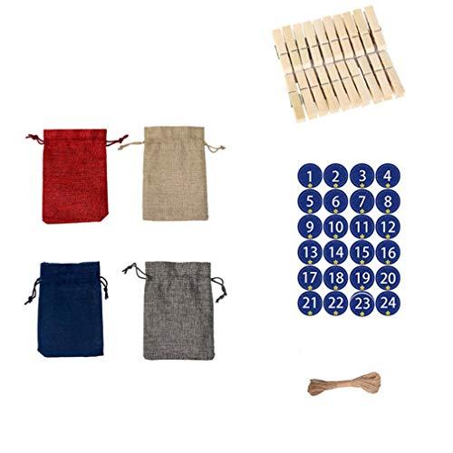 HehiFRlark - Bolsa de lino de Navidad, 24 unidades, para caramelos o caramelos, regalo de 3 colores, disfraz de Navidad
