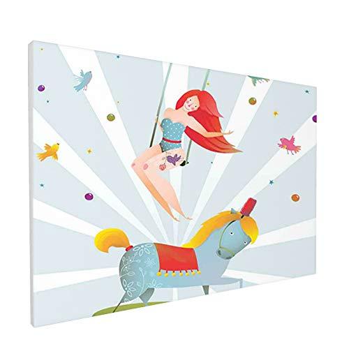 Kit de pintura decorativa sin marco para paisaje, pintura de circo, carnaval, espectáculo de chica con caballo de pony, dibujos animados acrobáticos, pintura por número, arte de gemas 30 x 45
