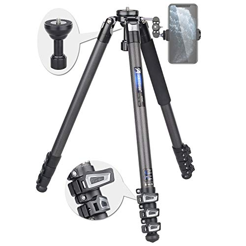 Carbon Fiber Tripod Heavy Duty Bowl Tripod AF80C Ultra-Stable Portable Travel Tripod Flip Buckle Lock Leg Tripod with 65mm Bowl Adapter and Magic Arm, Max Load 44lbs/20kg for DSLR Camera Camcorder