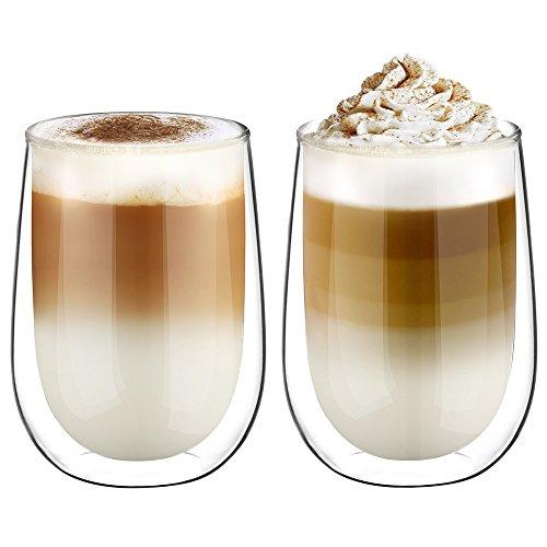 Glastal Doppelwandige Latte Macchiato Glaser Set 2-teiliges 350ml (Volle Kapazität) Thermoglas Kaffeeglas Trinkgläser