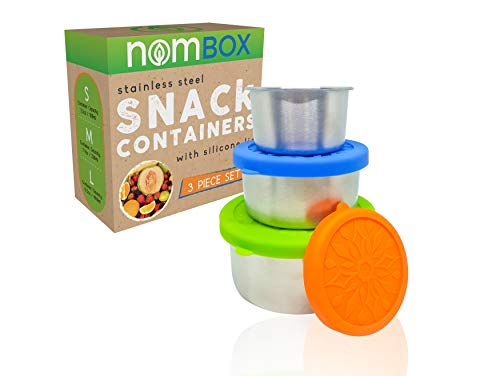 NomBox Stainless Steel Food Storage Containers – Set of 3 Kitchen LunchSnack Containers With Leak-proof Silicone Lids – Reusable Washable – For Portion Control Food Prep Storing