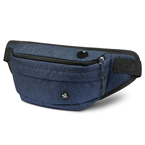 WATERFLY Fanny Pack for Men Women Water Resistant Large Hiking Waist Bag Pack for Running Walking Traveling (Sapphire Blue)