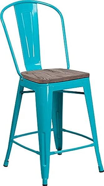 Emma Oliver 24 H Crystal Teal Blue Metal Wood Counter Stool With Back