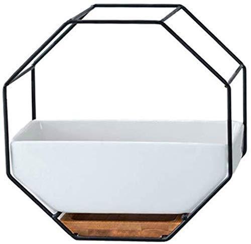 HIGHKAS Simplicidad nórdica Estante de Hierro de Metal Maceta de cerámica Blanca Maceta geométrica Simple Octogonal Colgante de Pared Maceta de cerámica Bandeja de bambú Bandeja de Hierro Fra
