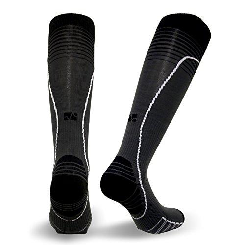 VitalSox Italian Premium - Calcetines de correr de compresión graduada y patentada Silver Drystat (1 par de compresión), Unisex adulto, VT0616, negro/gris, M