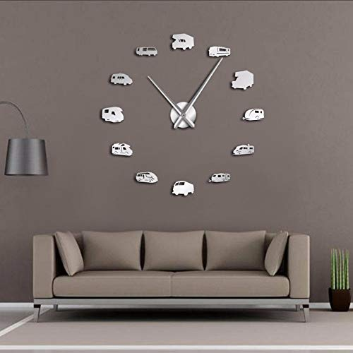 Pmhhc Car Bus DIY grote muur klok Rv Auto Frameless Giant Wall Watch Art Home Decor 3D Big Mirror Sticker Modern Design Clock -37 inch