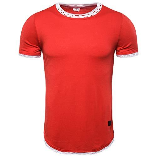 Herren Casual Sommer Kurzarm zerrissene T-Shirts (L, rot)