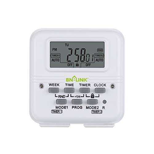 BN-LINK 7 Day Heavy Duty Digital Programmable Dual Outlet Timer - 2 Independently Programmable...