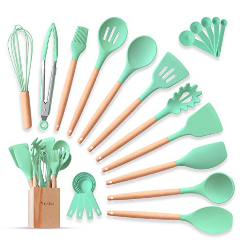 Silicone Cooking Utensils Kitchen Utensils Set 22pcs Natural Bamboo Handles Non-Stick BPA-Free Non-Scratch Cookware W/Wooden Holder Spatula Tongs Measuring Cups & Spoons Set Best Kitchen Gadget Tools