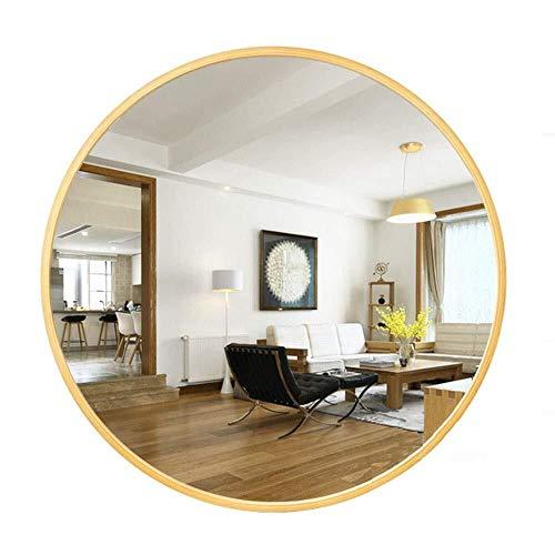 BJYX rand make-up spiegel houten frame ronde spiegel muur spiegel geschikt voor woonkamer, gang decoratie