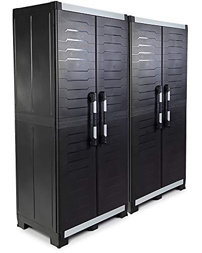 Ondis24 2x Werkzeugschrank Powercab XXL Set, 89x54x188cm, Werkstattschrank Metall & Kunststoff, Alu Griffe, Kunststoffschrank 3 Einlegeböden je 45kg, max 205kg belastbar