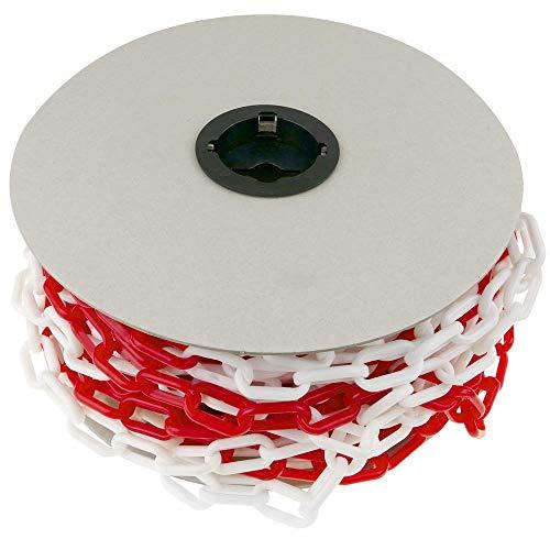 PrimeMatik - Cadena de plástico Rojo y Blanco Bicolor 35mm Rollo de 25m para señalización