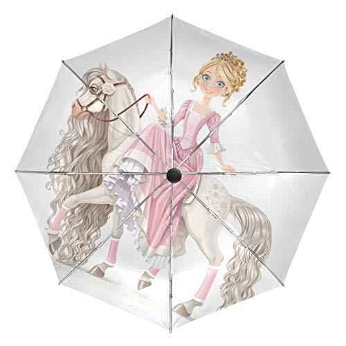 Wamika - Paraguas de Viaje con diseño de Princesa Sobre Caballo Blanco...