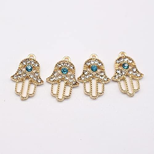 xuyang 10 pendientes de aleación de cristal de Fátima hechos hechos a mano con dijes turcos vintage de Fátima, collar y colgante para hacer joyas (color metálico: 1 oro)