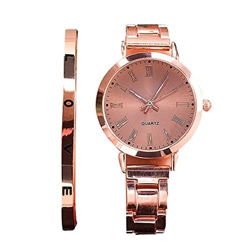 RTUQ Reloj de pulsera para mujer, moderno, lujoso, con correa de piel hueca, reloj mecánico para mujer, correa de acero inoxidable, cuarzo, regalo para mujeres