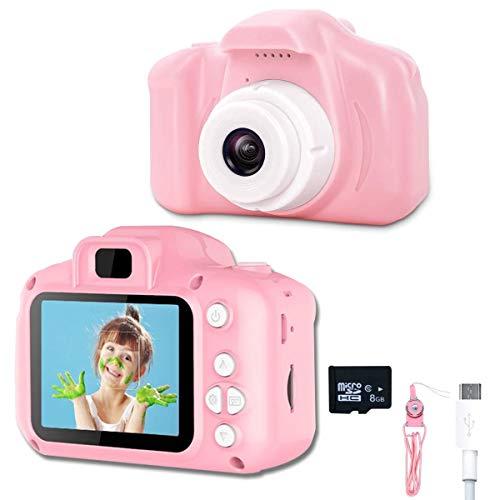 KEMOO Appareil photo numérique pour enfants de 5,1 cm avec enregistreur vidéo et dragonne anti-chute, mini caméra USB pour garçons et filles (carte 8 Go incluse). Rose