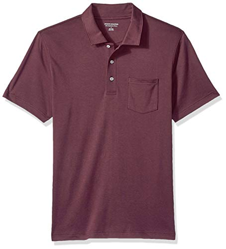 Amazon Essentials Herren-Poloshirt, schmale Passform, mit Brusttasche, aus Jersey, Port, US M (EU M)