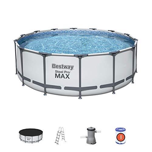 BESTWAY 5612X - Piscina Desmontable Tubular Steel Pro Max 427 x 122 cm, con Depuradora Cartucho 3.028 L/H Cobertor y Escalera