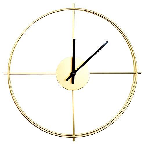 Fycooler Schlichte Wanduhr,Metall Lautlos Uhr Wall Clock ohne Tickgeräusche - Uhr Wand 38CM Retro Dekorative Geräuscharm Lautlos Wanduhr für Wohnzimmer - Für Küche Wohnzimme und Schlafzimmer - Gold
