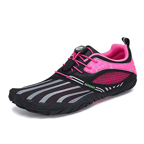 SAGUARO Mens Womens Minimalist Barefoot Trail Running Shoes Athletic Outdoor Jogging Walking Fitness Kayaking Swimming Beach Sport Water Shoes Rose