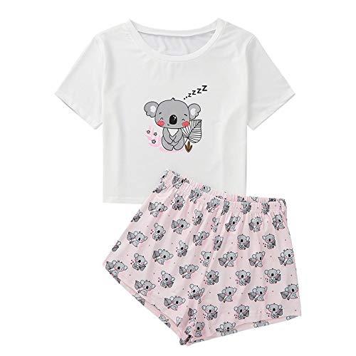 Conjunto Pijama Mujer,2 Piezas De Ropa De Dormir Suave para Mujer con Estampado De Koala De Dibujos Animados Lindo Negro Mangas Cortas Cuello Redondo Tops Camisa Rosa Pantalones Cortos Dama Casual H