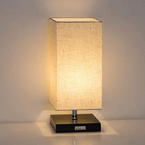 Tischlampe, Modern Minimalistische Nachttischlampe Mit Quadratischem Stoffschirm Für Schlafzimmer, Studentenwohnheim, Büro, Ideale Geschenke, Dekor