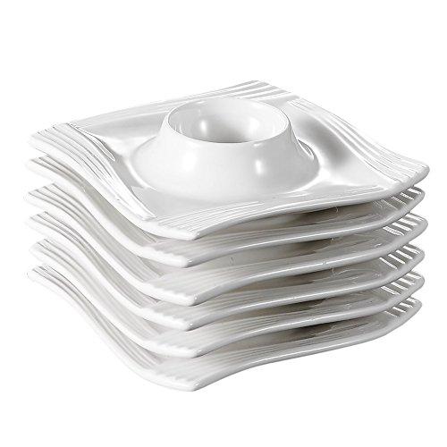 MALACASA, Série Amparo, 6 Pièces Coquetier en Porcelaine Oeuf Support