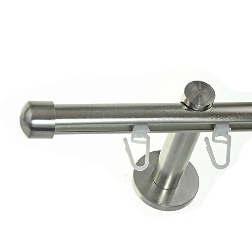 BASIT® Innenlauf Gardinenstange Edelstahl Look 16mm Wandträger 1-läufig modern mit Kappe H70 E17, Länge:140 cm