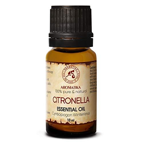 Aceite Esencial de Citronela 10ml - Cymbopogon Winterianus - Aceite de Citronela 100% Puro & Natural - Para Sauna - Masaje - Cosméticos - Botella de Vidrio