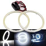 Grandview 1 paio (2 pezzi) bianco 70 mm 60SMD COB LED lampadina fari Angel Eyes Halo Anello Lampada con il riflettore, corrente costante, 9 V-30V