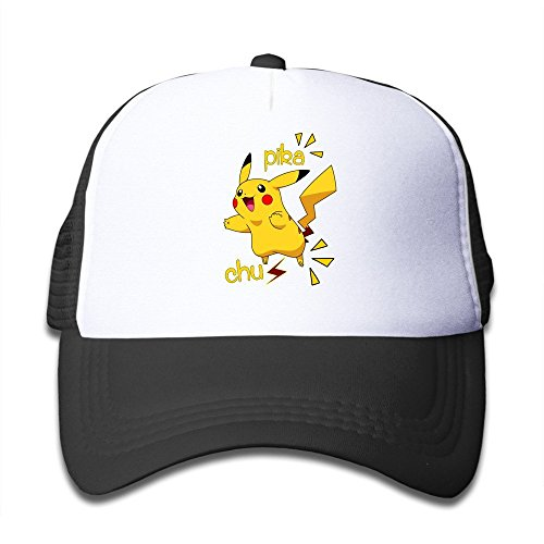 Hittings Youth Children Girl Boy Kids Rock Printed Pattern Pikachu Pokemon Unisex Half Mesh Adjustable Baseball Cap Hat Snapback SkyBlue Black