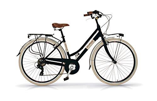 Via Veneto 28'; Bicicleta Mujer, Retro Vintage Bici Citybike Negro - Airbici