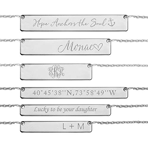 Personalized Coordinates /& Back Name//Text Engraved Bar Necklace for Men Gift 925 Sterling Silver//Copper