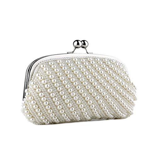 Mubolin Bolso de noche para mujer, con cuentas de perlas artificiales, para boda, fiesta, diamantes de imitación, color blanco