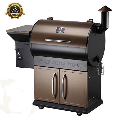 Wood Pellet Grill Smoker with Patio Cover,700 Cooking Area 6 in 1 Electric Digital Controls Grill for Outdoor BBQ Smoke, Roast, Bake, Braise and BBQ with Storage Cabinet Smokers